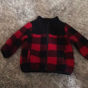 Baby buffalo plaid Sherpa zip up sweatshirt